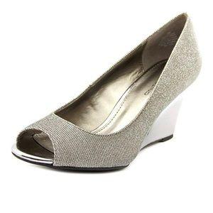 Bandolino Pewter/Silver Peep Toe Wedge Dress Shoe